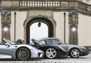 Porsche 918 Spyder, Carrera GT und 959 (von links).