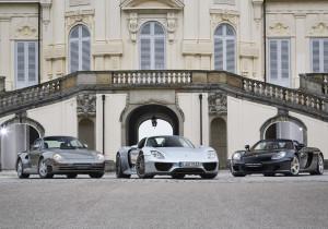 Porsche 959, 918 Spyder und Carrera GT (von links).