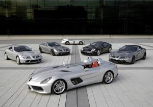 Mercedes-Benz SLR McLaren Stirling Moss (vorne), 300 SLR (hinten), SLR Coupé, SLR 722 Edition, SLR Roadster und SLR Roadster 722 S.