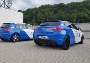Prototypen von Volkswagen (Golf) mit 48-Volt-Hybridtechnologie und Alfa Romeo (Giulietta) mit Hochleistungsmotor bei Testfahrten in Gratkorn.